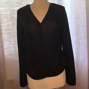 Charter Club Petite black button up cardigan